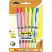 BIC Zakreślacz Highlighter Grip mix 12szt Pastel
